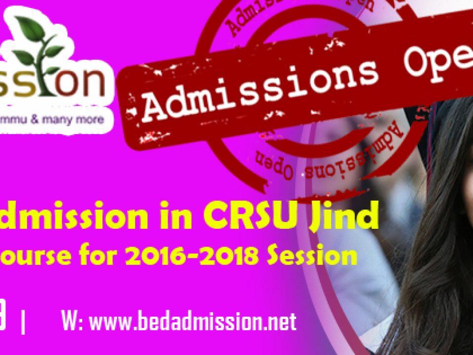 admissions in b.ed CRSU Jind